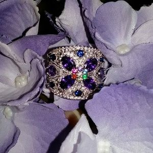 Jewelry - Woman's Multi-Colored CZ Floral Ring
